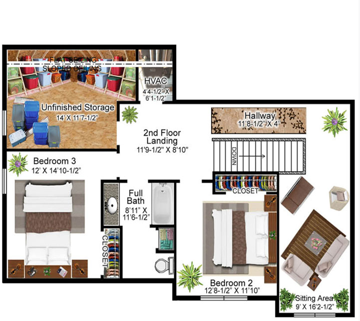 Pidale Model Floor Plan - Second Floor